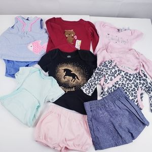 Baby Girl Clothes 9 pieces outfits sz 3-6 months